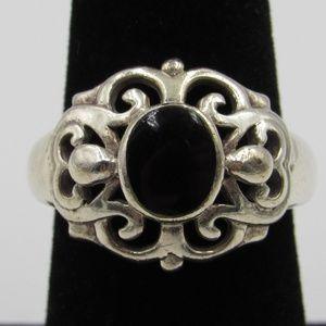 Vintage Size 7.25 Sterling Ornate Black Inlay Ring